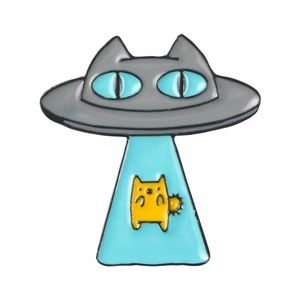 4/$20 Space Alien Abducted UFO Cat Enamel Pin